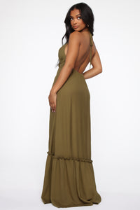 Your Baby Girl Halter Maxi Dress - Olive