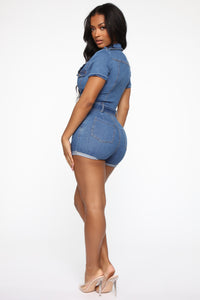 Let's Motor Denim Romper - Medium Blue Wash