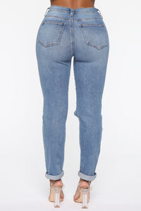 Need A New High Rise Mom Jeans - Medium Blue Wash Angle 6