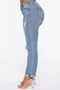 Need A New High Rise Mom Jeans - Medium Blue Wash Angle 4