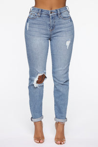 Need A New High Rise Mom Jeans - Medium Blue Wash Angle 1