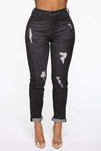 Need A New High Rise Mom Jeans - Black Angle 2