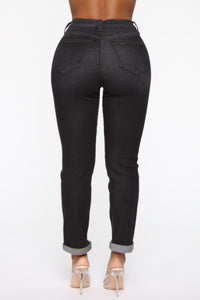 Need A New High Rise Mom Jeans - Black Angle 6