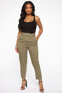 Out Of Time High Rise Pants - Olive