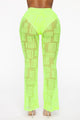 Stop And Stare Mesh Flare Pants - Neon Green