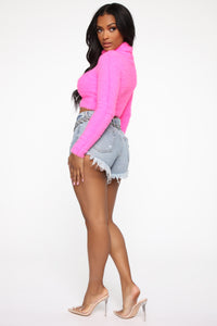 Being Cozy Fuzzy Sweater - Neon Pink