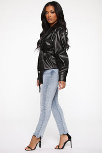 So Worth It Faux Leather Jacket - Black Angle 4