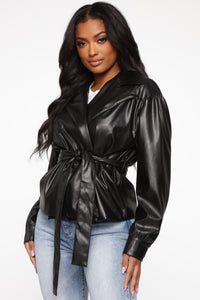 So Worth It Faux Leather Jacket - Black Angle 2