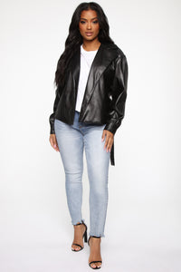 So Worth It Faux Leather Jacket - Black Angle 3