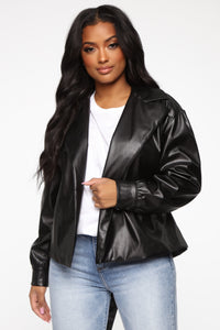 So Worth It Faux Leather Jacket - Black Angle 1