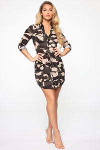 Taking Charge Shirt Dress - Camouflage