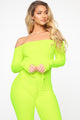 Need A Hug Velour Jumpsuit - Neon Yellow
