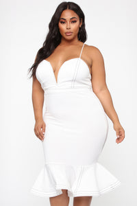 Cristelle Mermaid Midi Dress - Ivory Angle 7
