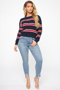 Here For You Sweater - Navy/Red
