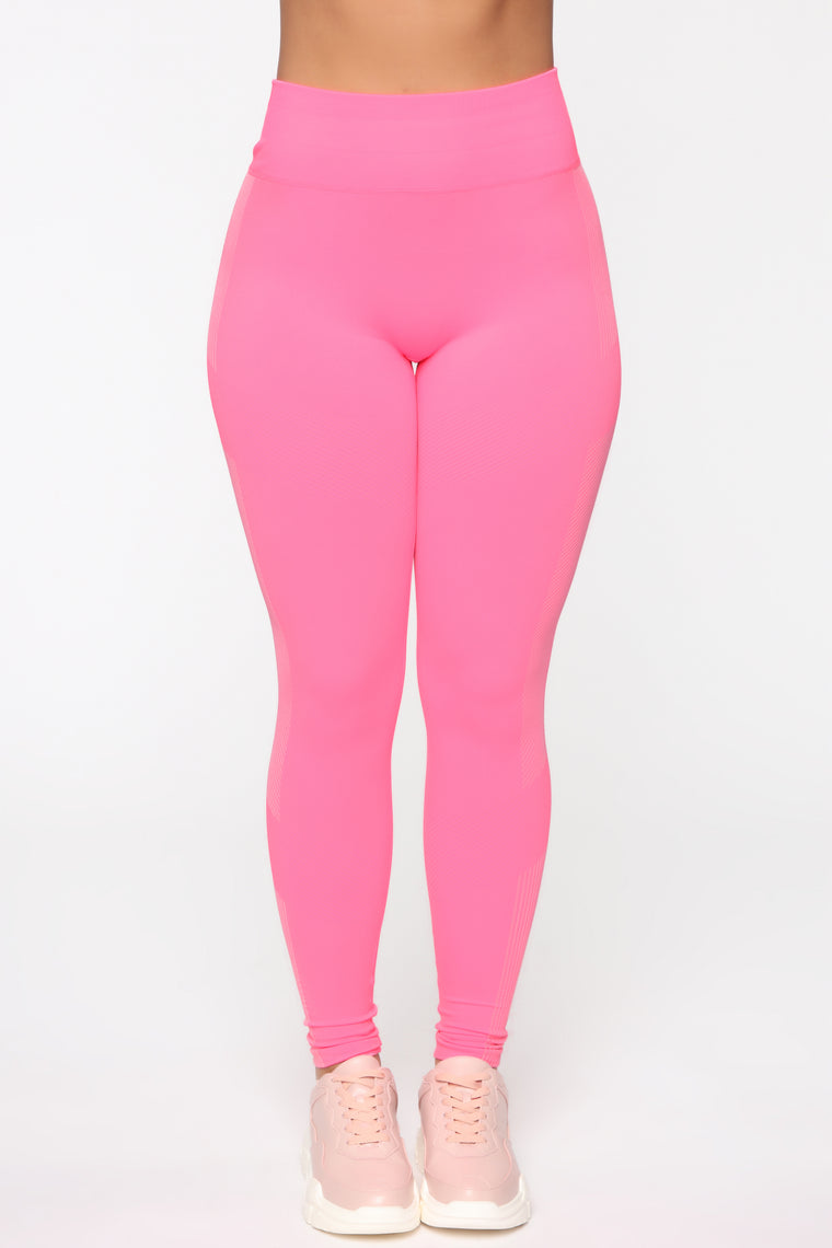 Stick With It Seamless Active Legging - Neon Pink/Multi