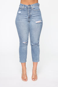 Straighten Up High Rise Jeans - Light Blue Wash Angle 1
