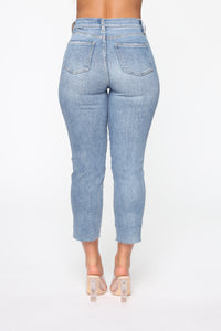 Straighten Up High Rise Jeans - Light Blue Wash Angle 5