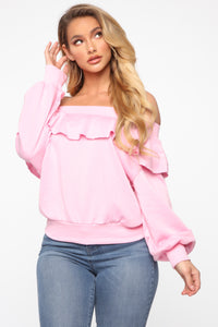 Ready For The Weekend Sweatshirt - Dusty Pink Angle 1