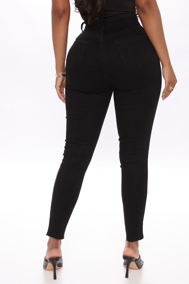 Got Back Up Exposed Button Skinny Jeans - Black