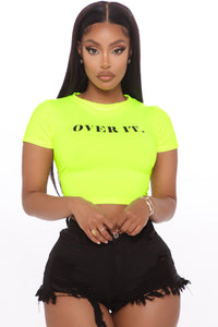 I'm Over It Baby Top - Neon Yellow Angle 1