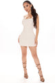 Boardwalk Date Button Back Mini Dress - Khaki