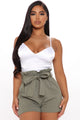 Tied High Waist Shorts - Olive