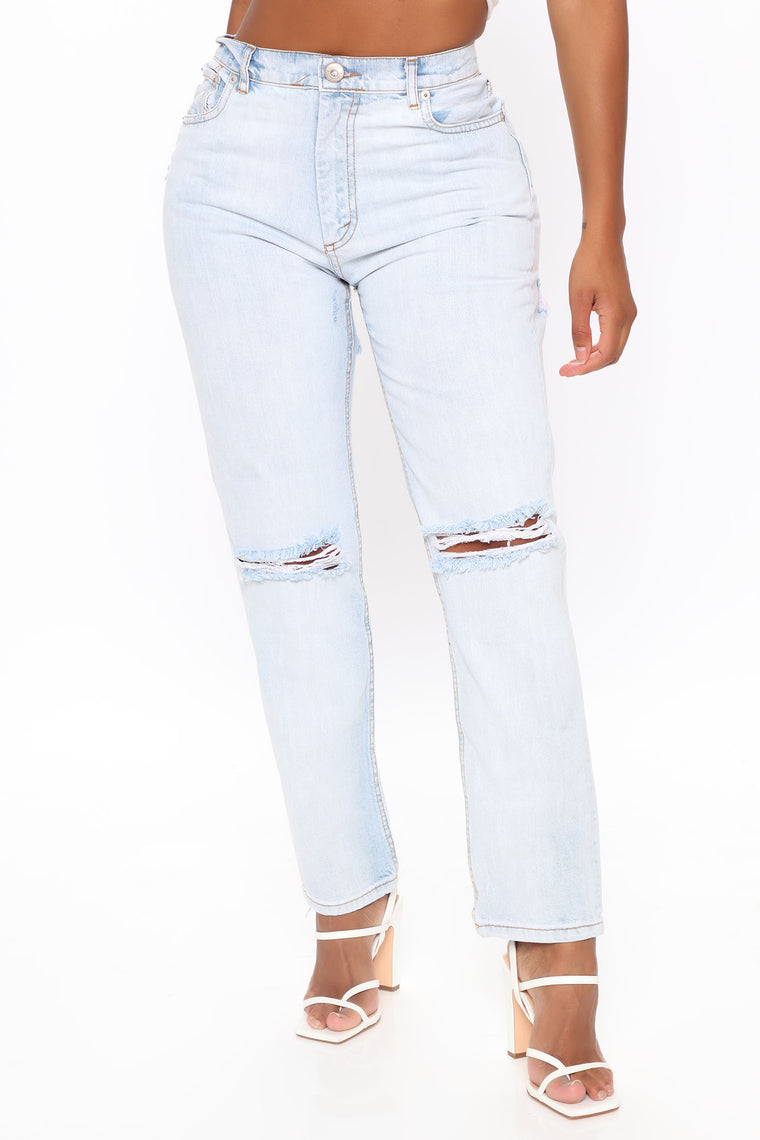 Need Alone Time Cut Out Mom Jeans - Light Wash