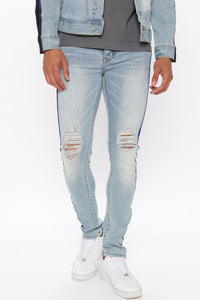 Perry Side Stripe Skinny Jean - Light Wash Angle 1