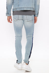 Perry Side Stripe Skinny Jean - Light Wash Angle 3