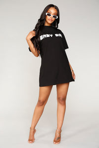 Where You At Baby Girl Dress - Black/White