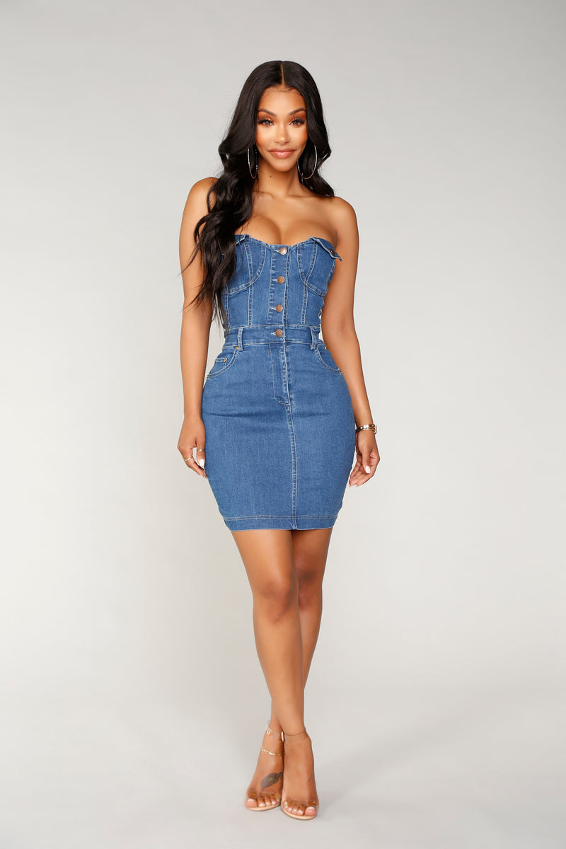 Mina Tricks Denim Dress - Medium Wash