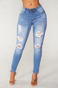 Ready Set Go Distressed Jeans - Medium Blue Wash