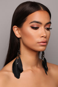 Just Wing It Out Earrings - Black