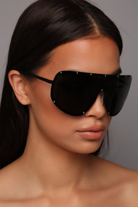 Let's Talk About It Sunglasses - Black/Gunmetal Angle 1