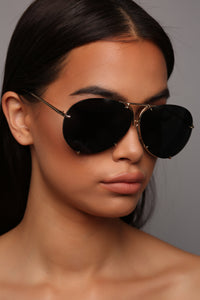 All About You Sunglasses - Black/Gold