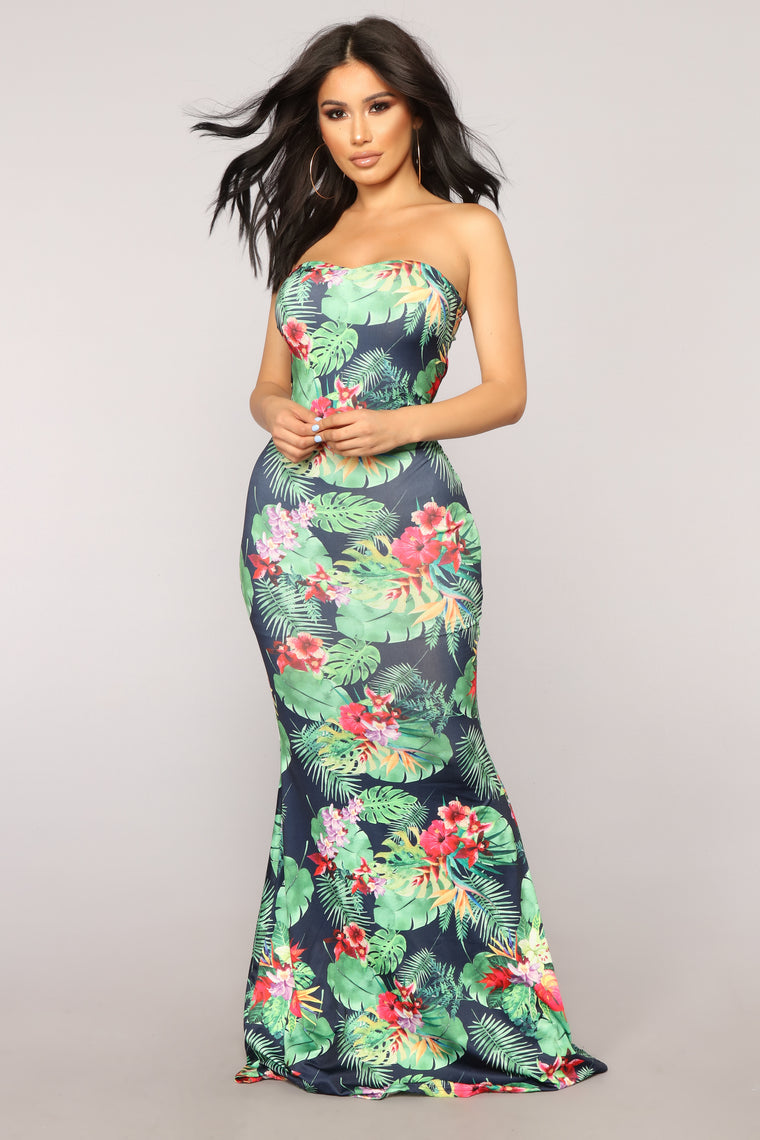 Tropical Paradise Strapless Dress - Green/Multi