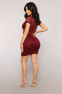 Scarlet Dreams Lace Dress - Burgundy