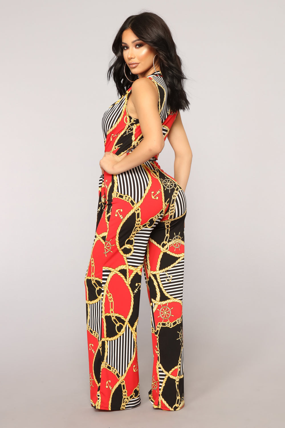 Link Up Jumpsuit - Black/Red