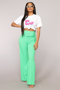 Tabitha Belted Pants - Kelly Green