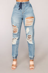 Get Into Denim Mode Distressed Joggers - Medium Blue