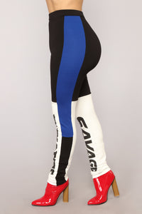She's A Savage Leggings - Black/combo