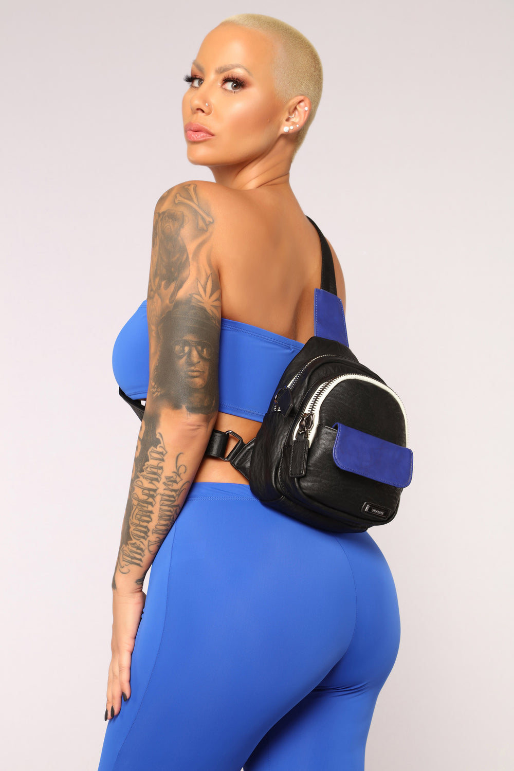 Over The Shoulder Satchel - Black/Blue