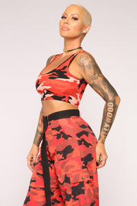 Hidden Motives II Crop Top - Red