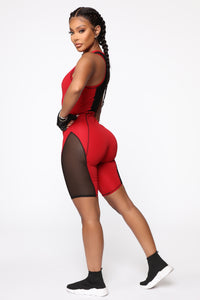 We Just Don't Mesh Romper - Red/Black