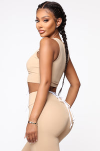 All Tied Up Right Now Crop Top - Mocha