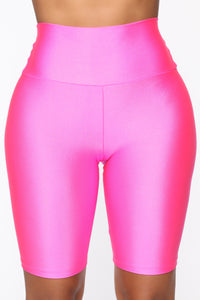 Nova Baesic Biker Short In Glossy Fabric - Neon Pink Angle 1