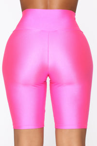 Nova Baesic Biker Short In Glossy Fabric - Neon Pink Angle 7
