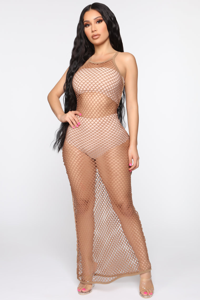 Caught In Your Lies Fishnet Maxi Dress   Taupe by Fashion Nova