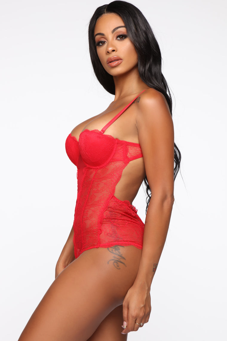 Sexual Healing Lace Teddy - Red