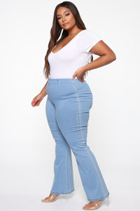 Stay The Night Flare Jeans - Light Blue Wash